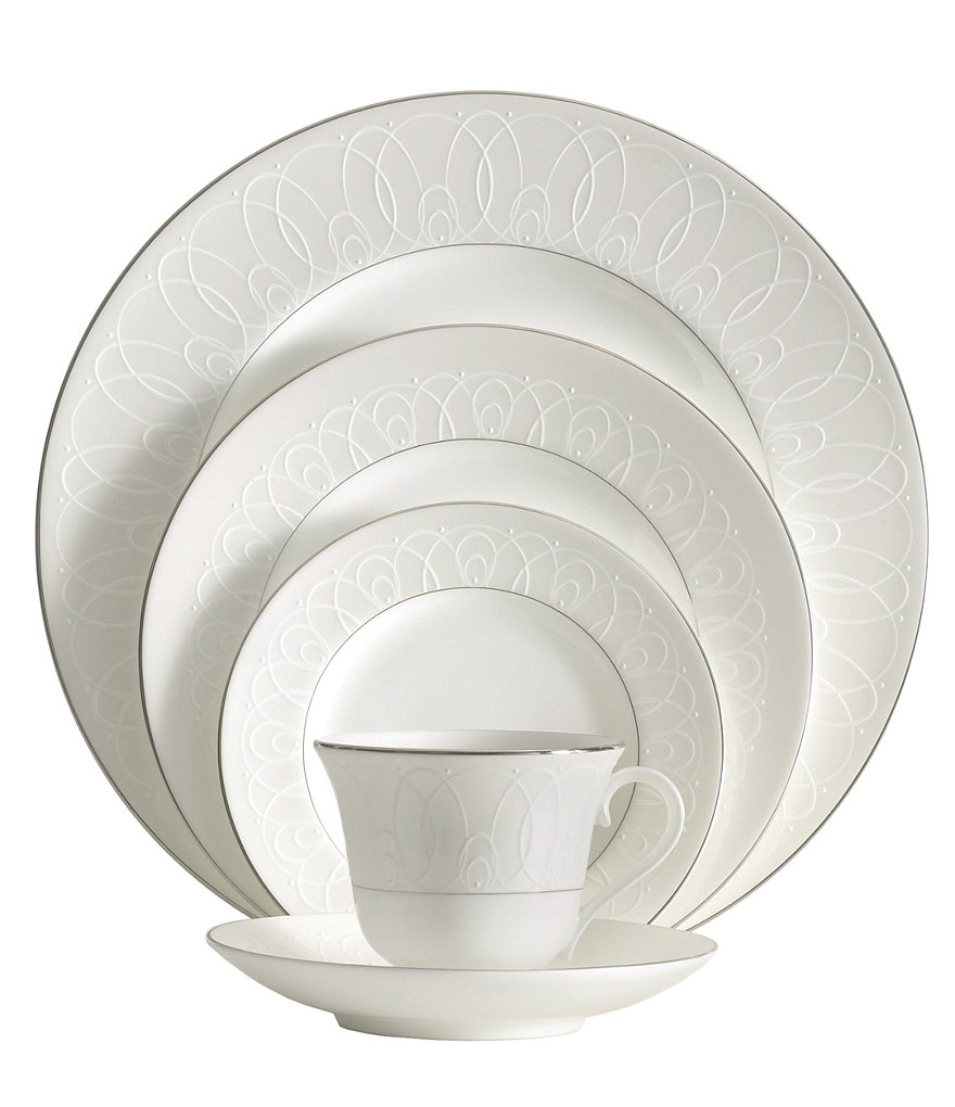 Waterford Ballet Icing Pearl Piped Platinum China 5-Piece Place Setting