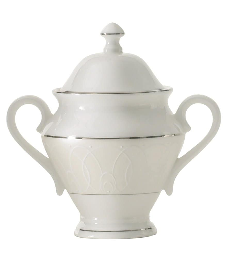 Waterford Ballet Icing Pearl Platinum Bone China Sugar Bowl with Lid