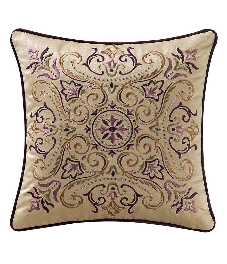 Waterford Carlotta Beaded Embroidered Square Pillow