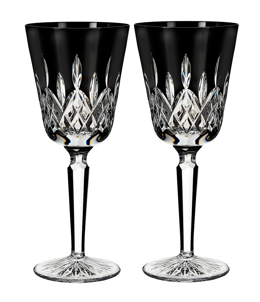 Waterford Lismore Black Crystal Goblet Pair