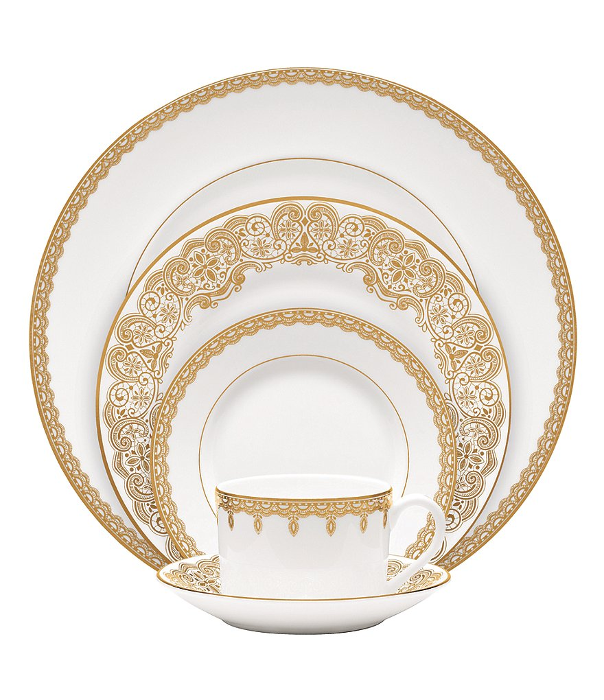 Waterford Lismore Lace Gold Bone China 5-Piece Place Setting