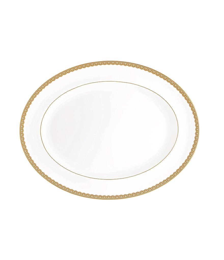 Waterford Lismore Lace Gold Bone China Oval Platter