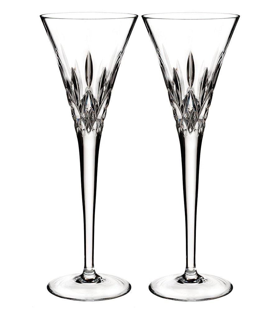 Waterford Lismore Pops Crystal Toasting Flute Pair