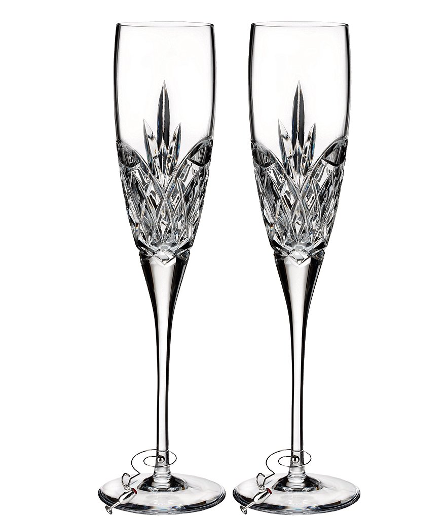 Waterford Love Forever Crystal Wedding Toast Flute Pair