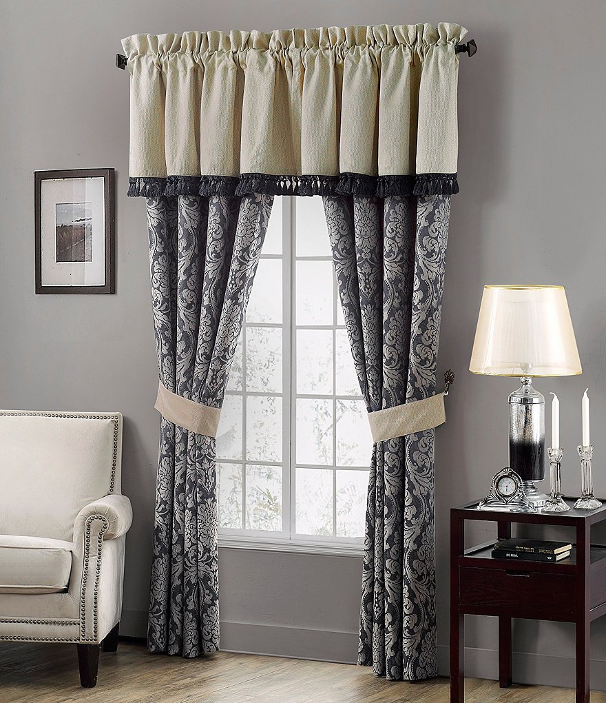 Waterford Sinclair Distressed Damask Window Treatments