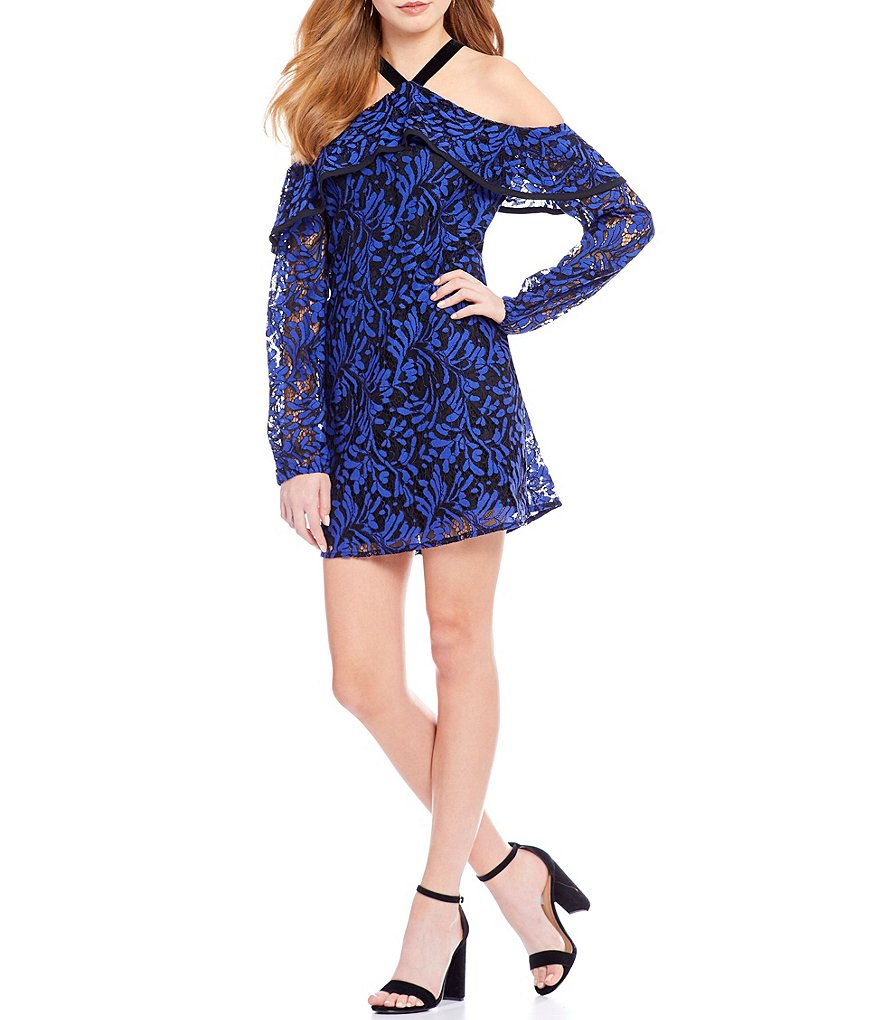 WAYF Helena Cold Shoulder Ruffle Lace Shift Dress