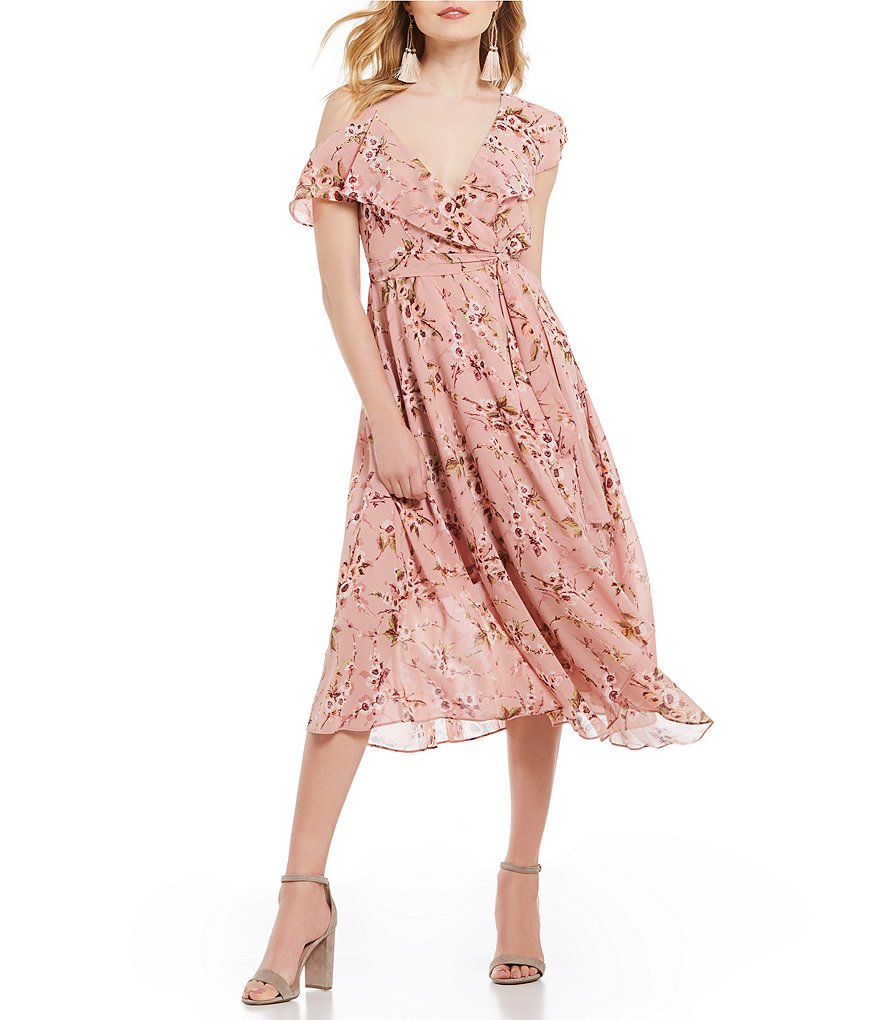 WAYF Jenna Floral Print Cold Shoulder Wrap Dress