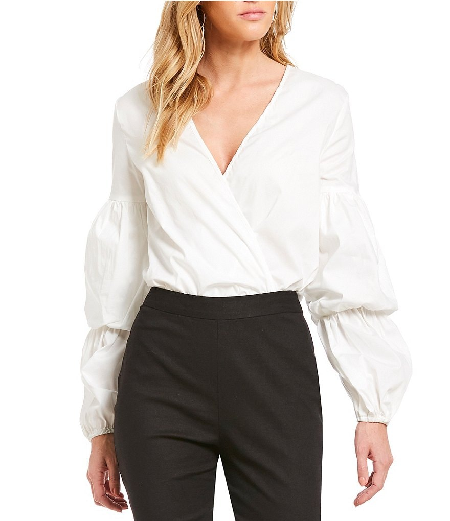 WAYF Gathered Sleeve Faux Wrap Style Novelty Shirting Bodysuit