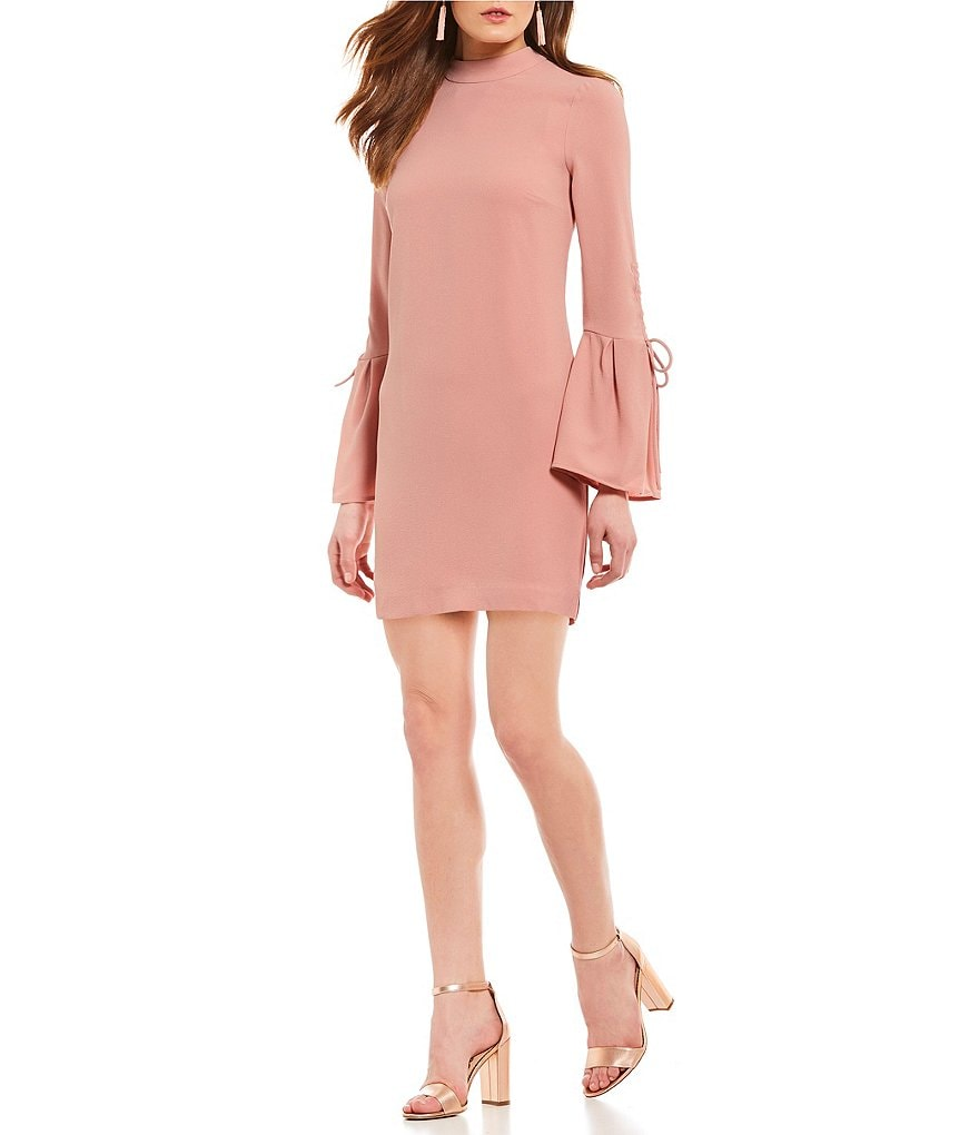 WAYF Martina Blush Pink Tie Bell Sleeve Dress