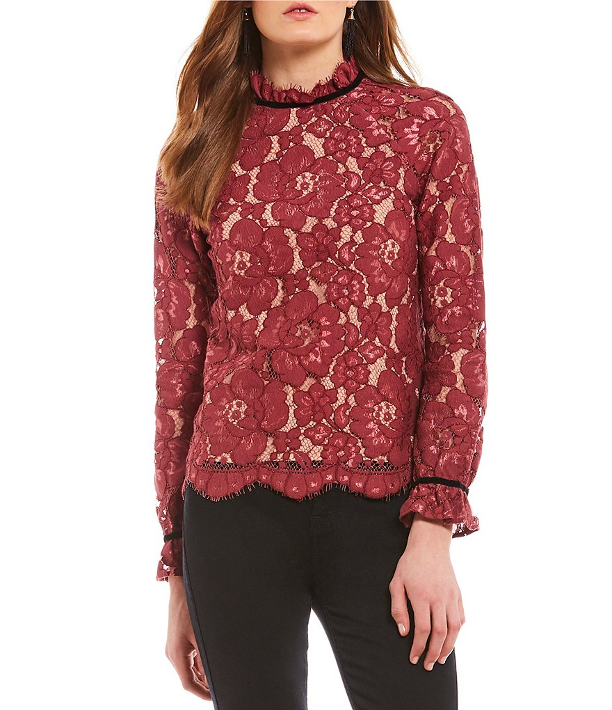 WAYF Sukie Raglan Lace Ruffle Cuff Sleeve Top