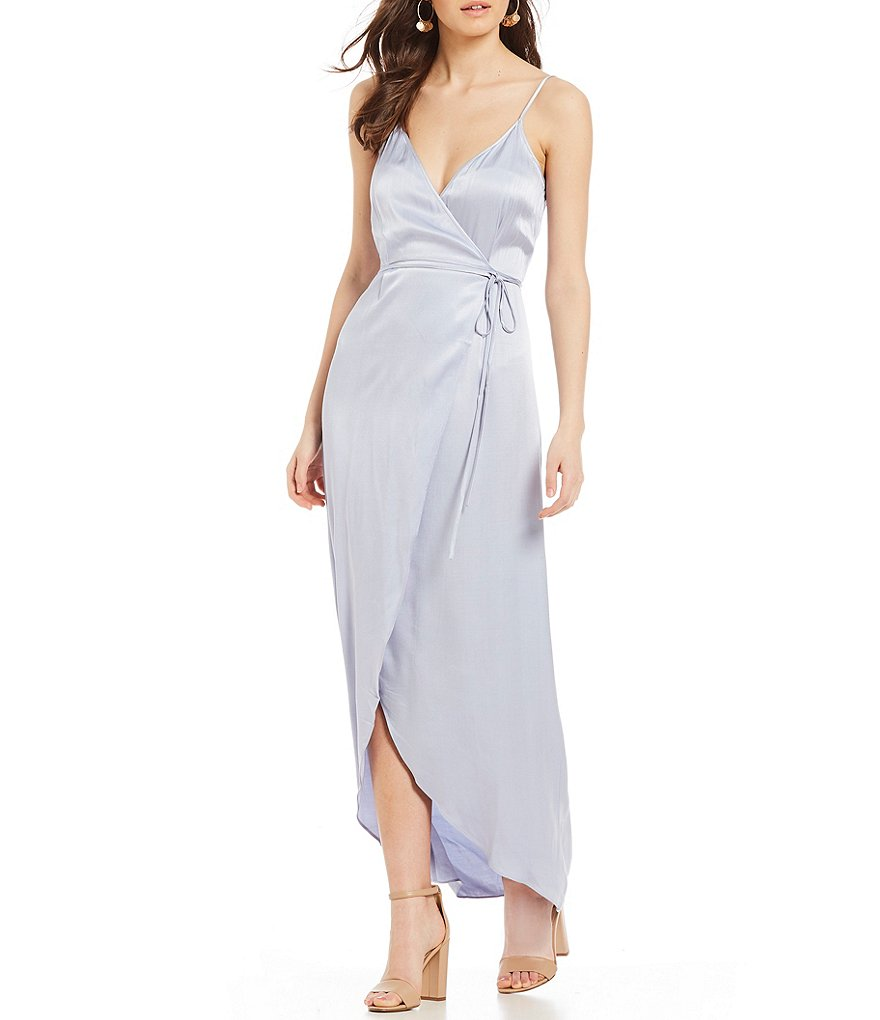 WAYF Tegan Wrap Style Cami Hi-Low Tulip Maxi Dress