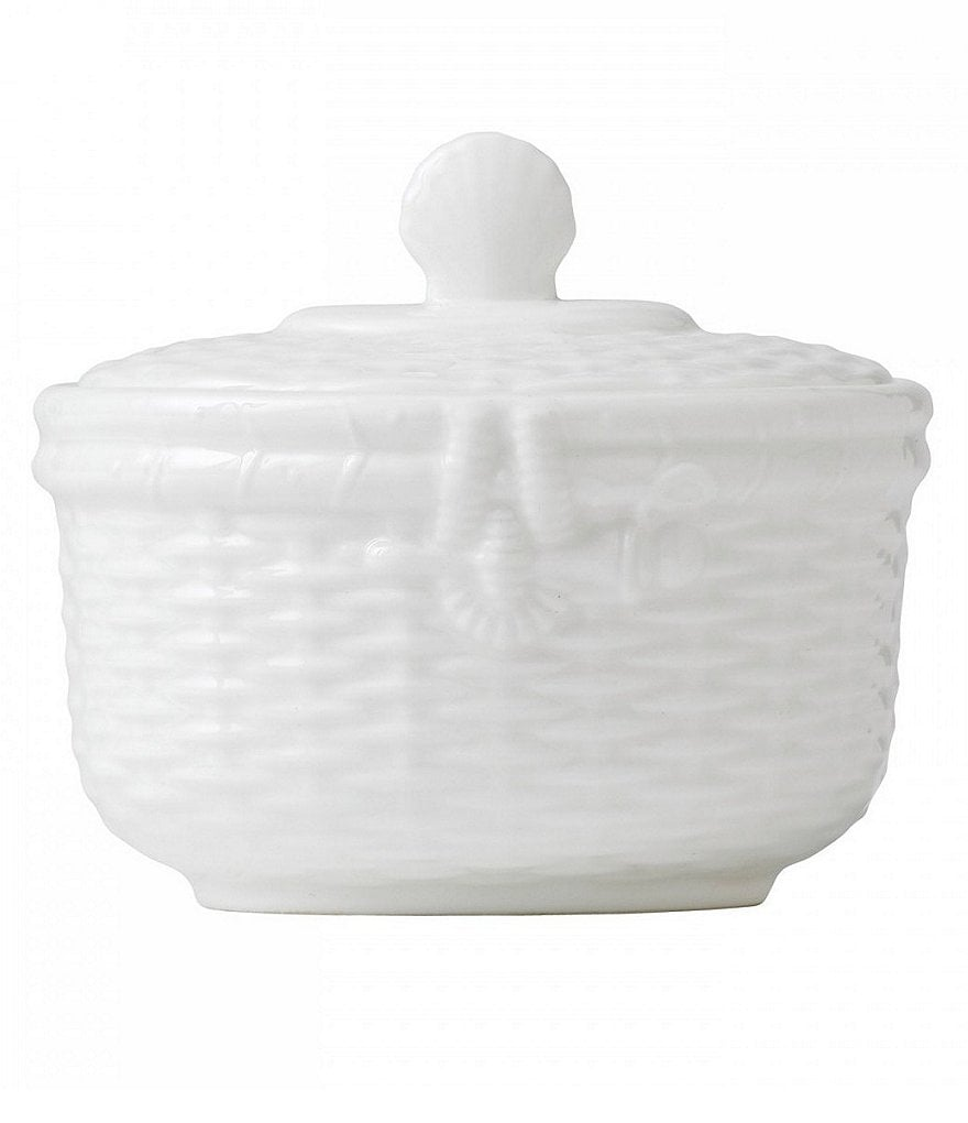 Wedgwood Nantucket Basket Sculpted Bone China Sugar Bowl with Lid