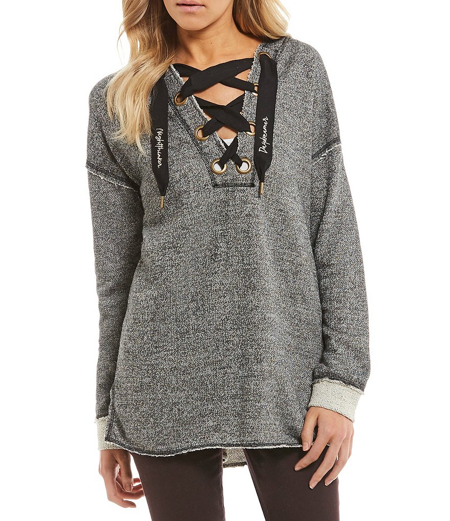 West Coast by Coco Lace-Up Front Tunic Hoodie