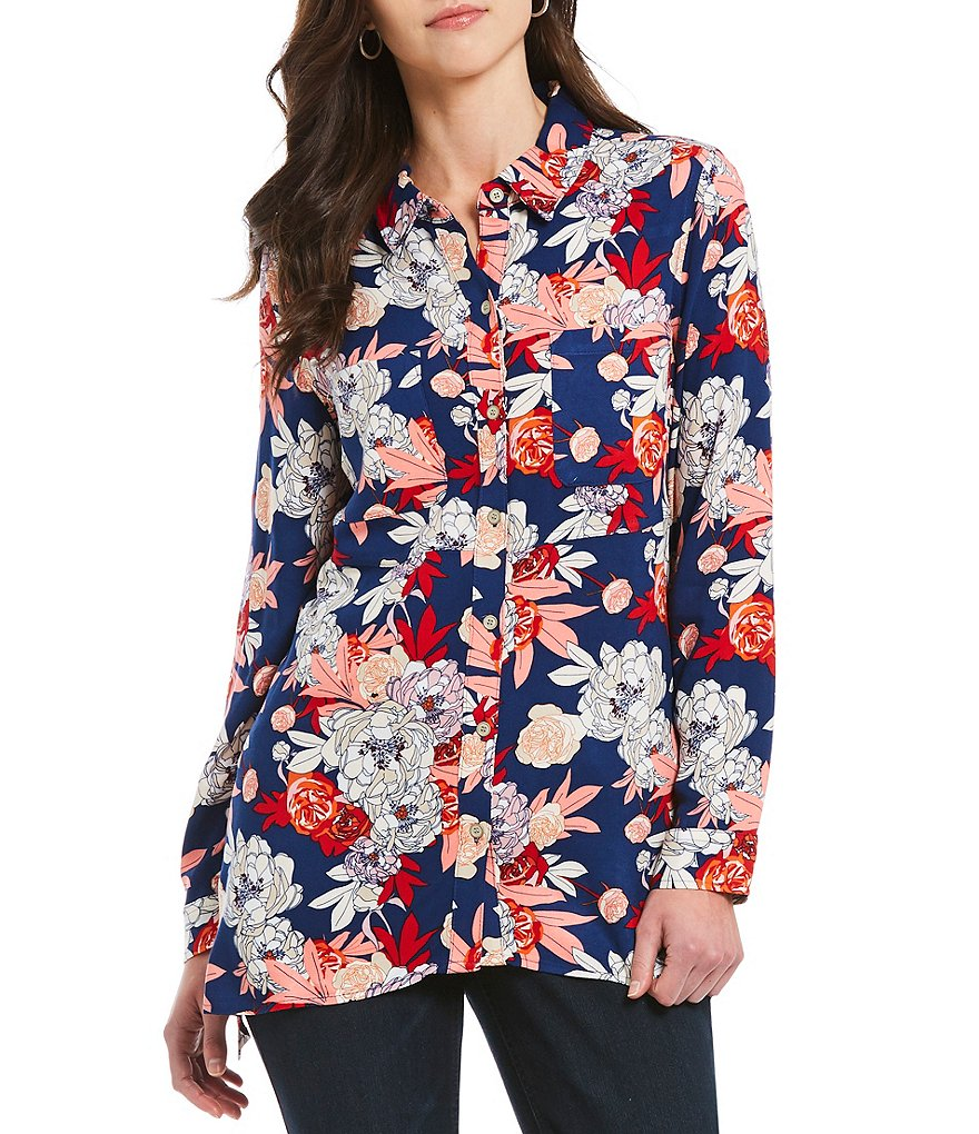 Westbound 2 Pocket Floral Print Tunic Top