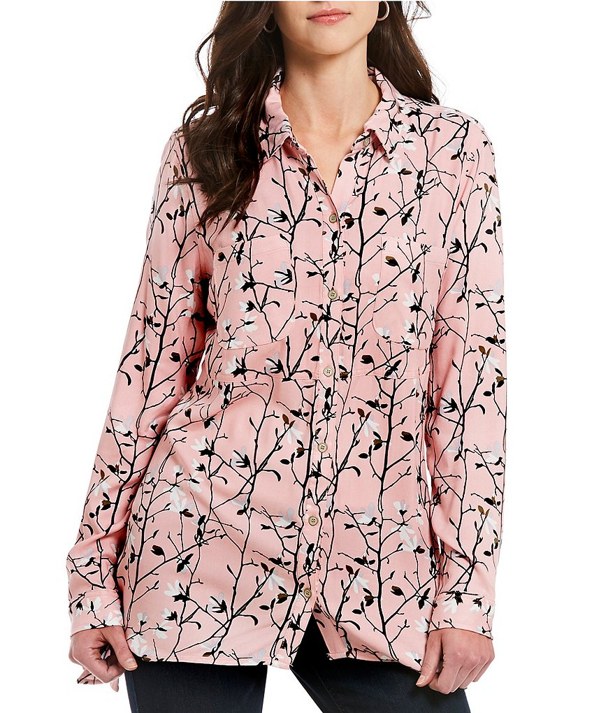 Westbound 2 Pocket Pink Cotton Floral Tunic Top