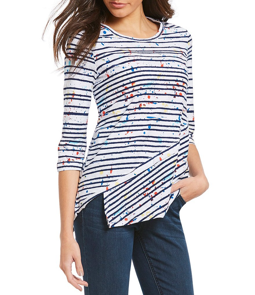Westbound 3/4 Sleeve Asymmetrical Tunic Top