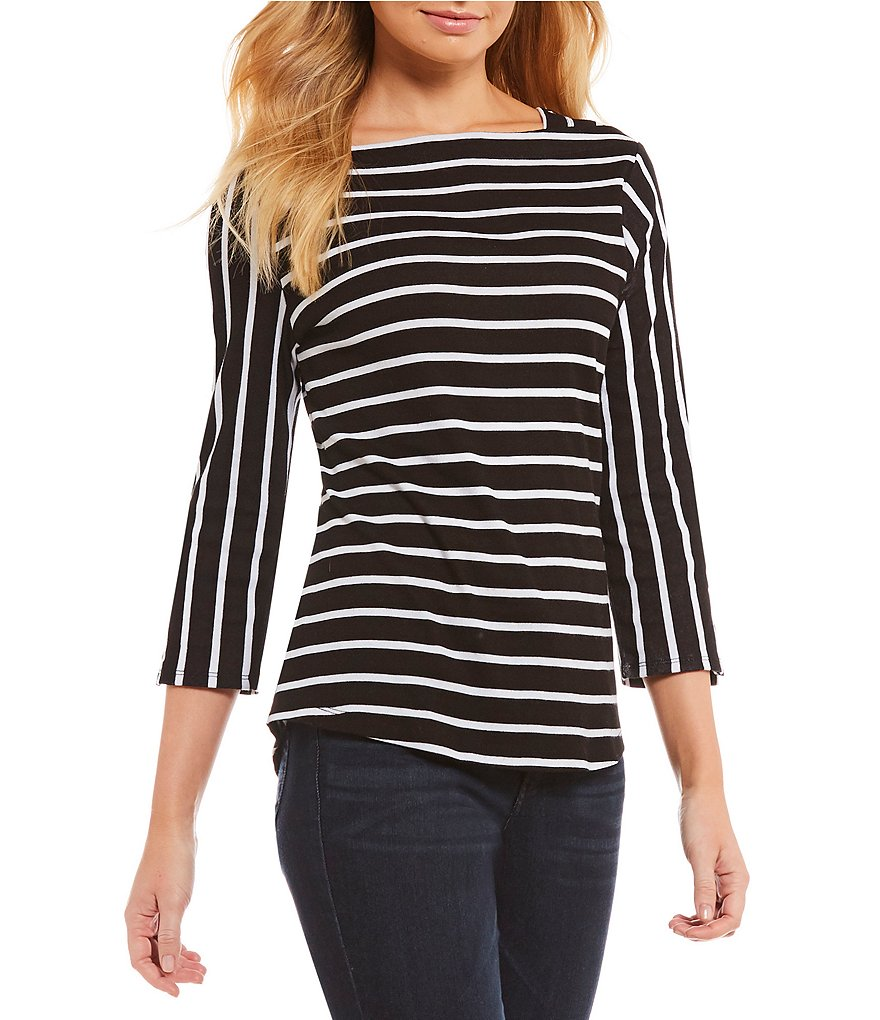 Westbound 3/4 Sleeve Striped Boatneck Top