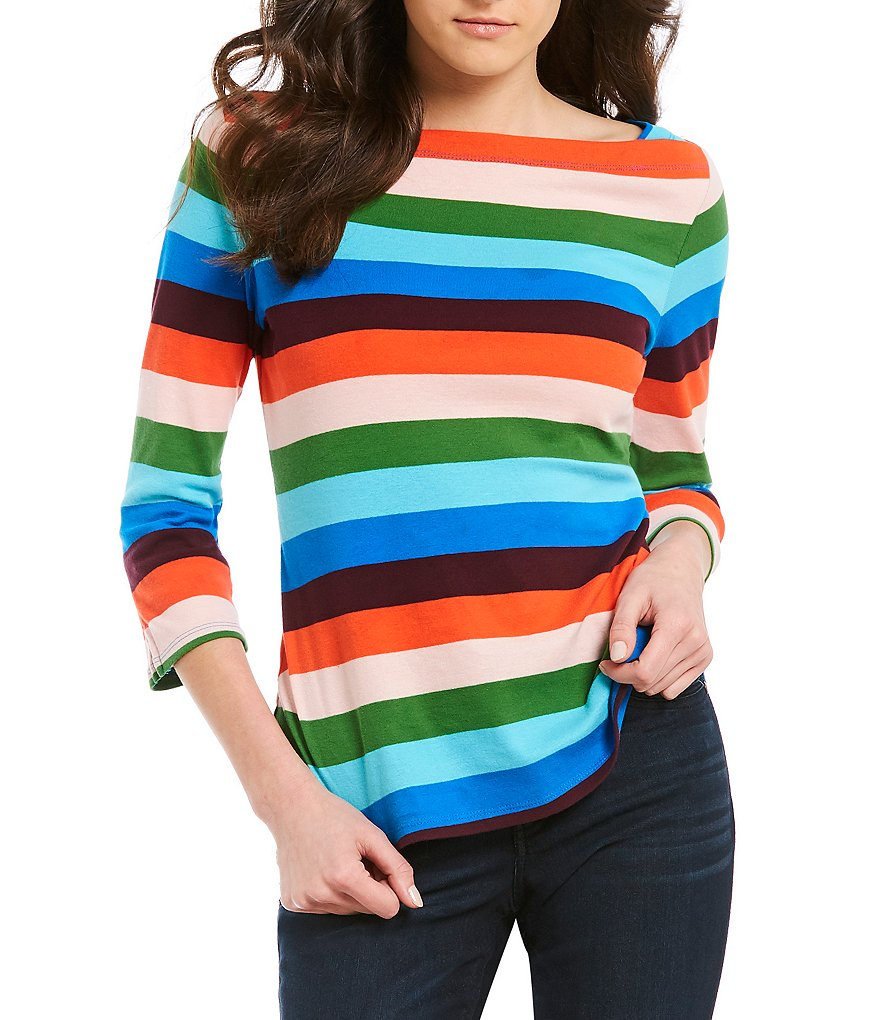 Westbound 3/4 Sleeve Boatneck Candy Stripe Top