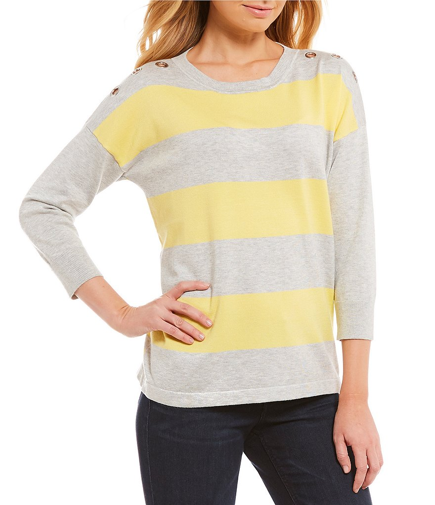 Westbound 3/4 Sleeve Grommet Sweater
