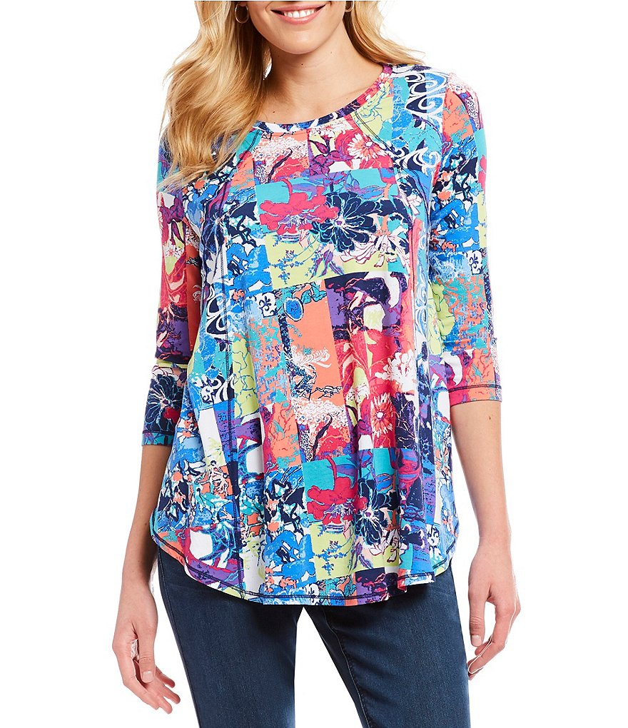 Westbound 3/4 Sleeve Seamed Patch Print Tunic Top