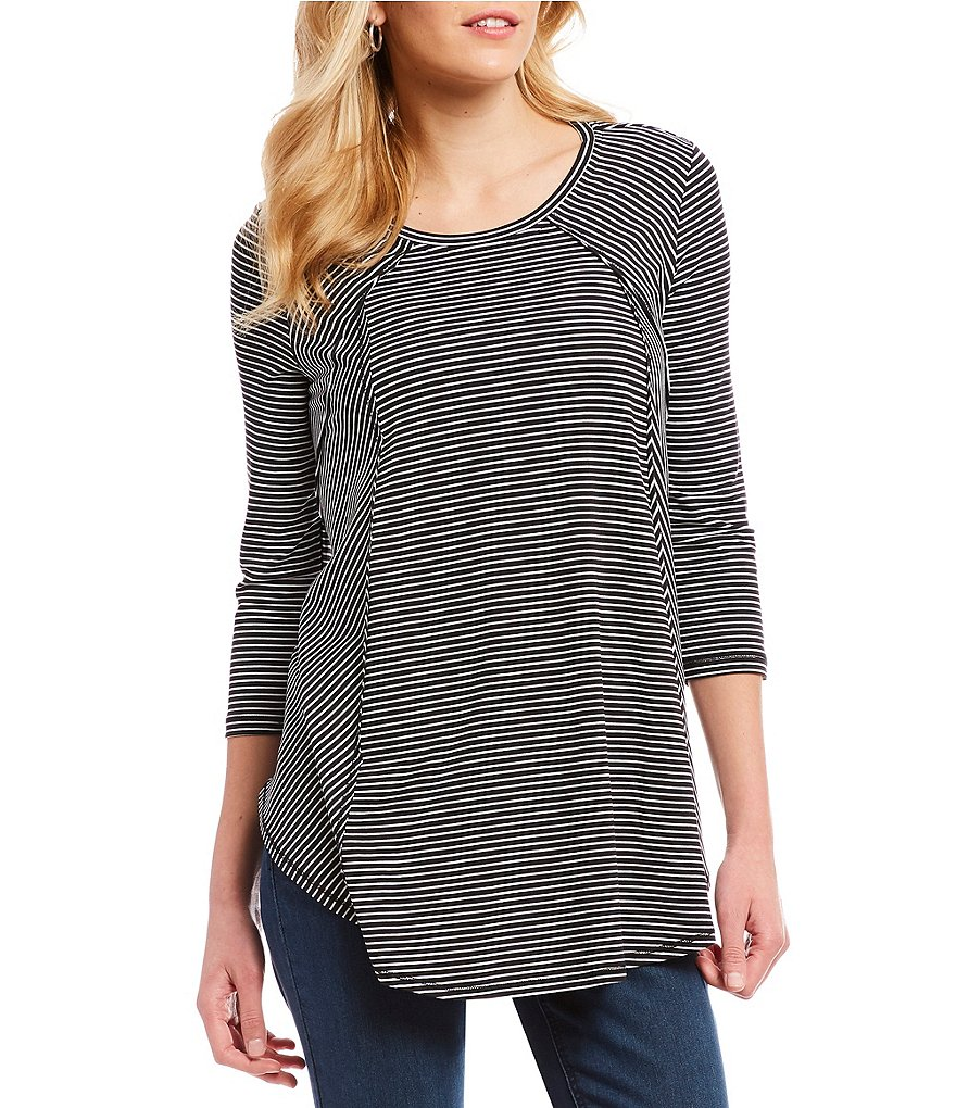 Westbound 3/4 Sleeve Seamed Striped Tunic Top