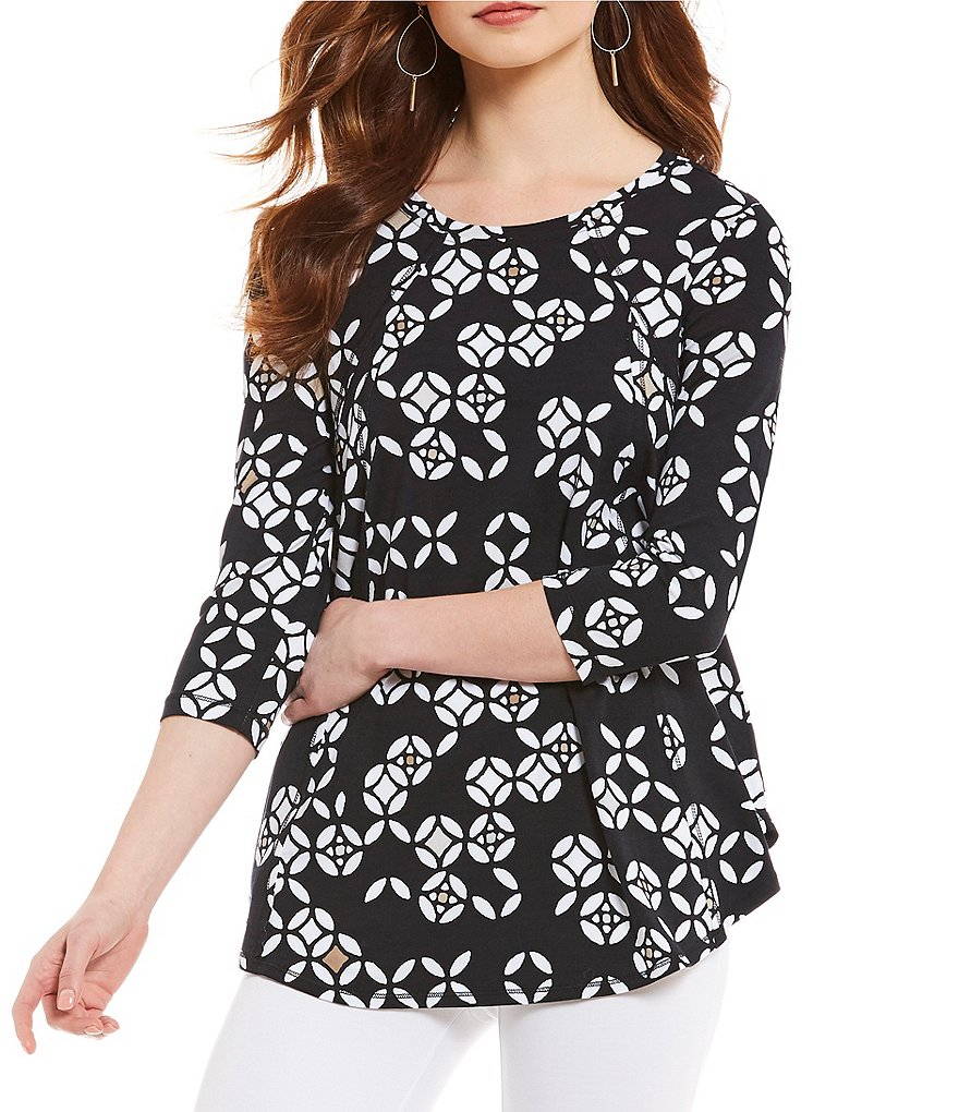 Westbound 3/4 Sleeve Medallion Dot Print Seamed Tunic Top