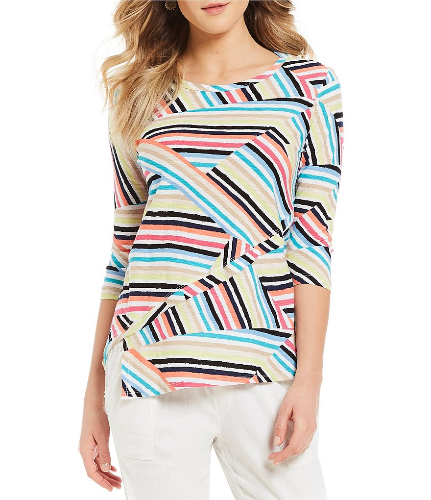 Westbound Asymmetrical Stripe Tunic Top