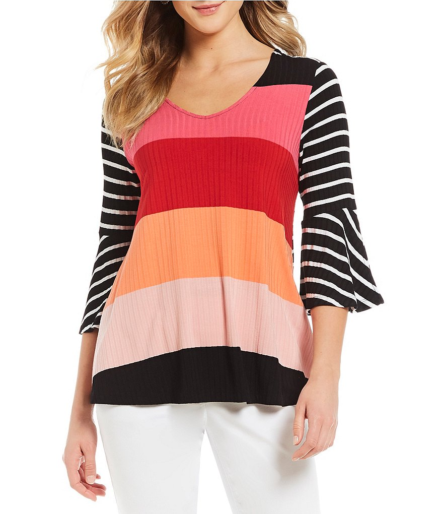 Westbound Block Stripe Bell Sleeve V-Neck Top
