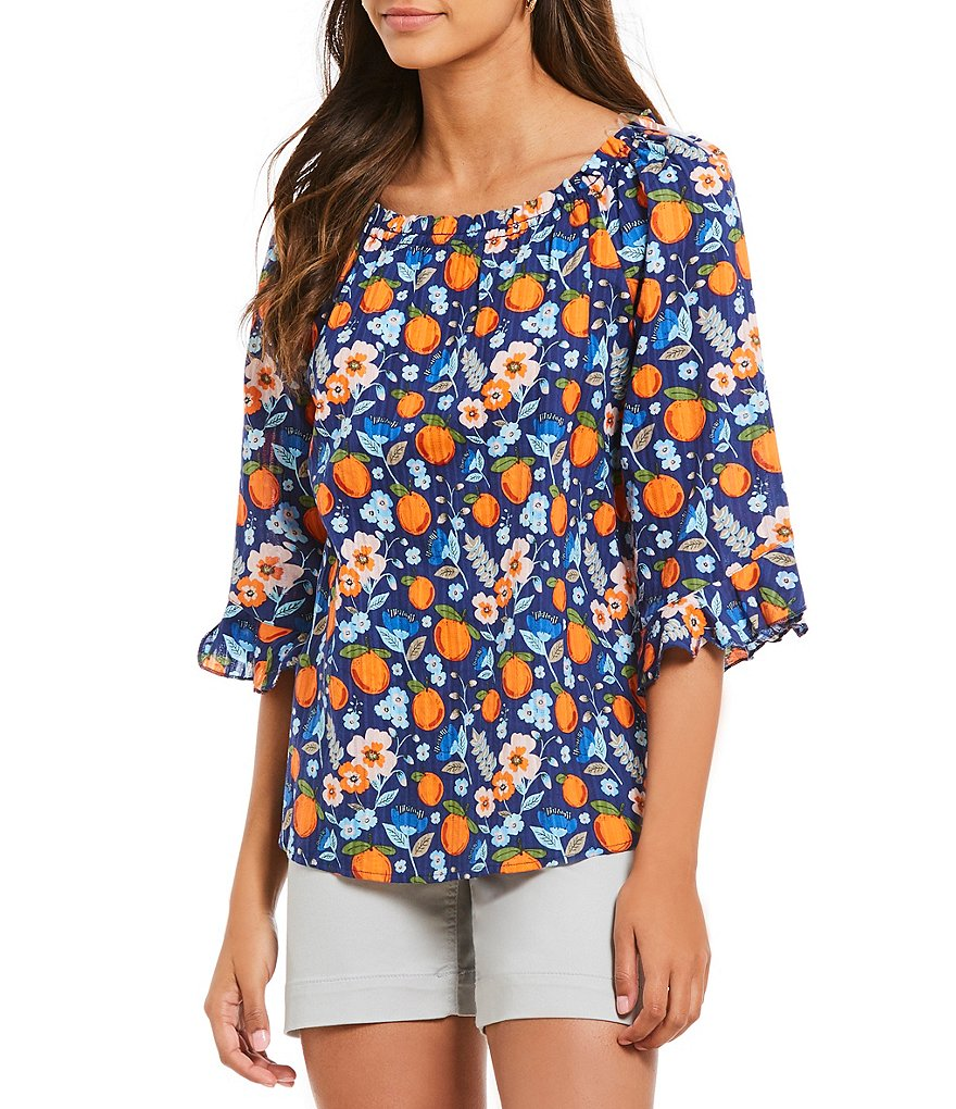 Westbound Botanical Fruit Floral Print Ruffle Sleeve Peasant Top