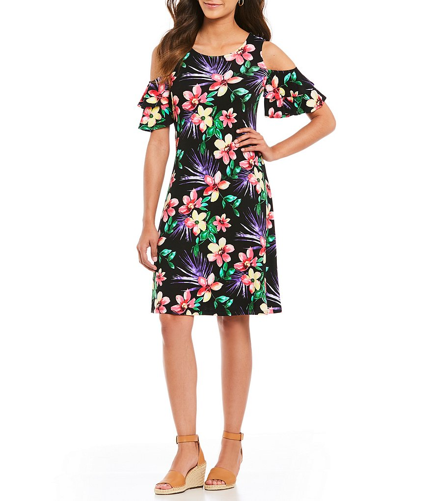 Westbound Cold Shoulder Floral Print Dress