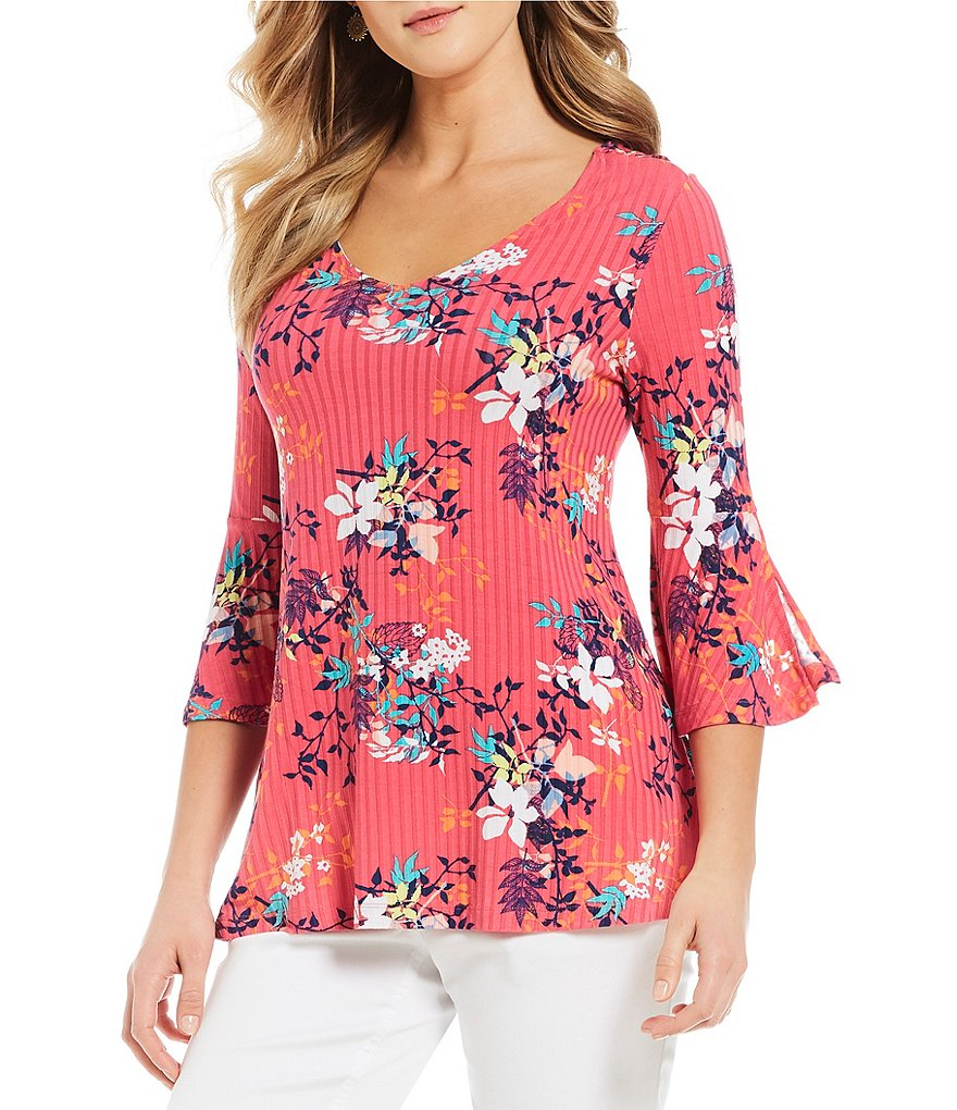 Westbound Floral Print Bell Sleeve V-Neck Top