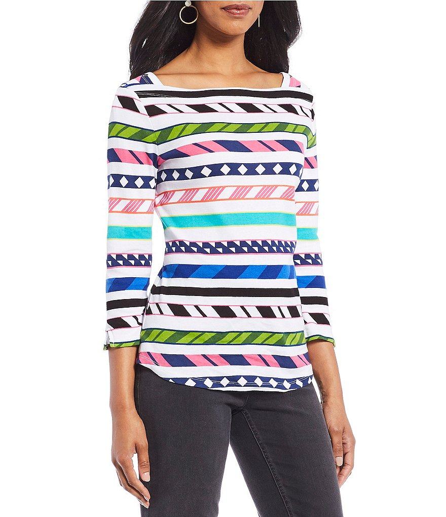 Westbound Mix Geo Print 3/4 Sleeve Boatneck Top