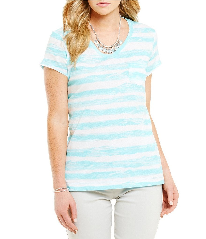 Westbound Petite Watercolor Back-Seamed Top