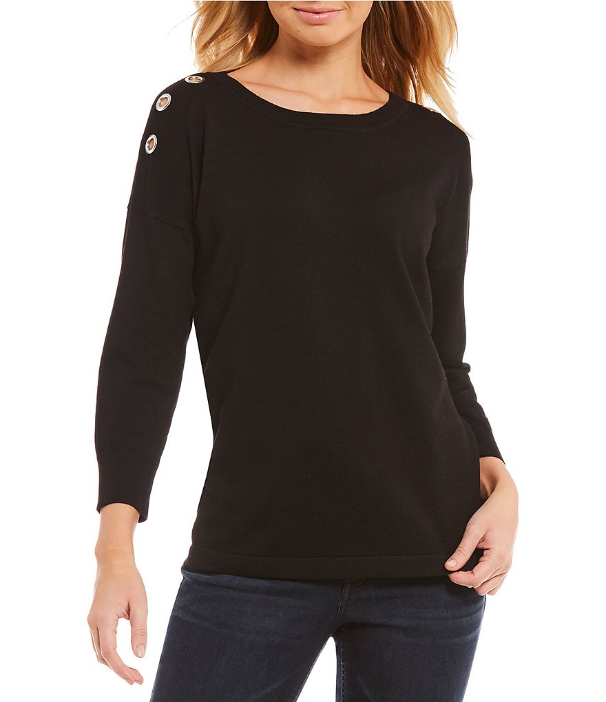 Westbound Petites 3/4 Sleeve Grommet Sweater