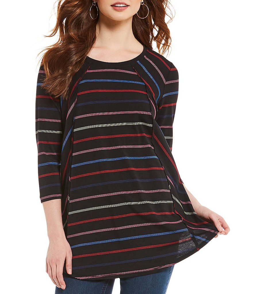 Westbound Petites 3/4 Sleeve Seamed Tunic Top