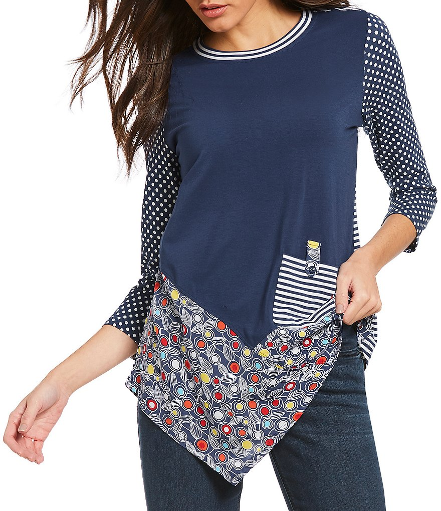 Westbound Petites Asymmetric Mixed Top
