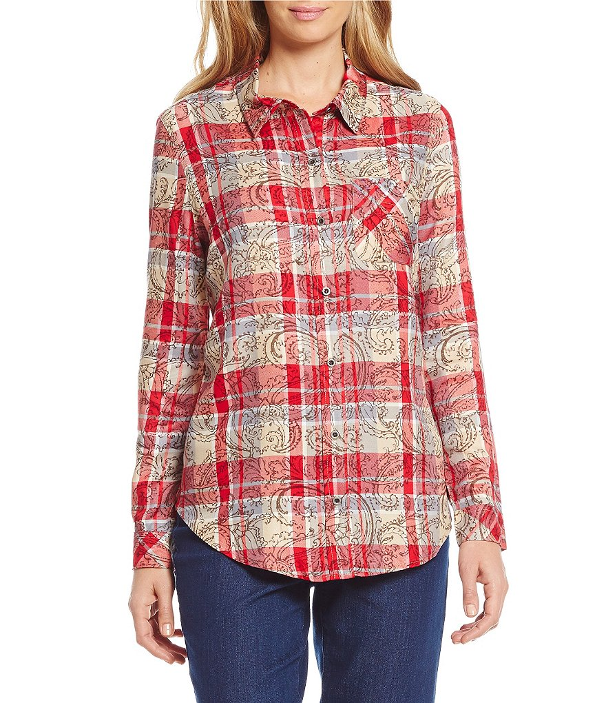 Westbound Petites Long Sleeve Pocket Button Front Shirt