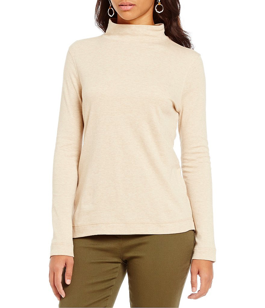 Westbound Petites Mock Neck Long Sleeve Top
