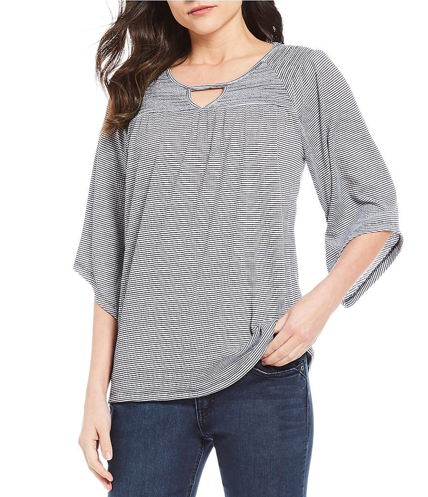 Westbound Petites Smocked Yoke Top