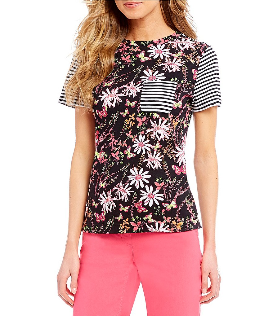 Westbound Petites Striped Floral Print Short Sleeve Crew Top