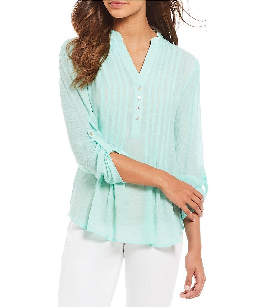 Westbound Pleated Y-Neck Top