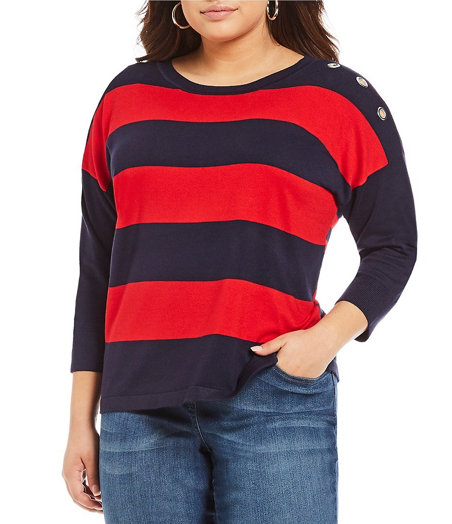 Westbound Plus 3/4 Sleeve Grommet Sweater