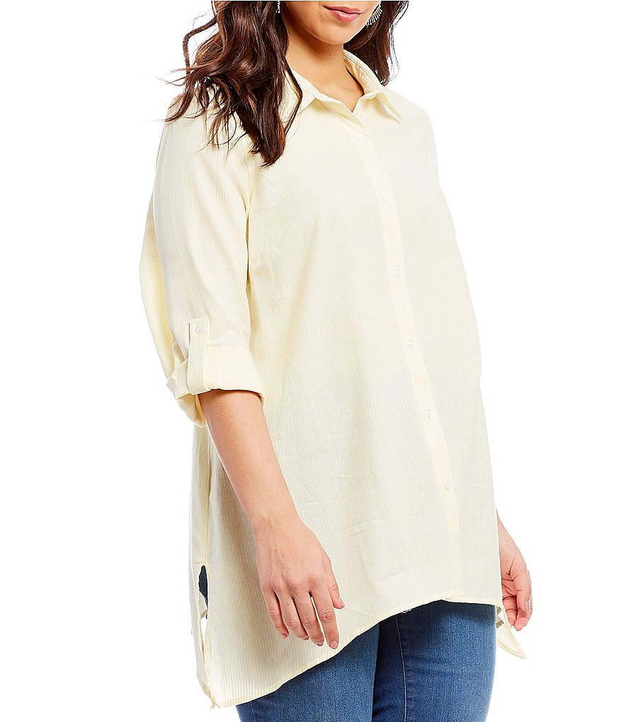 Westbound Plus Button Front Tunic Top