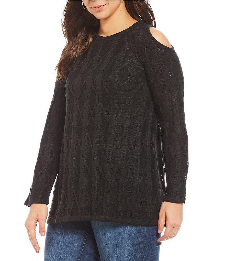 Westbound Plus Cold Shoulder Sweater