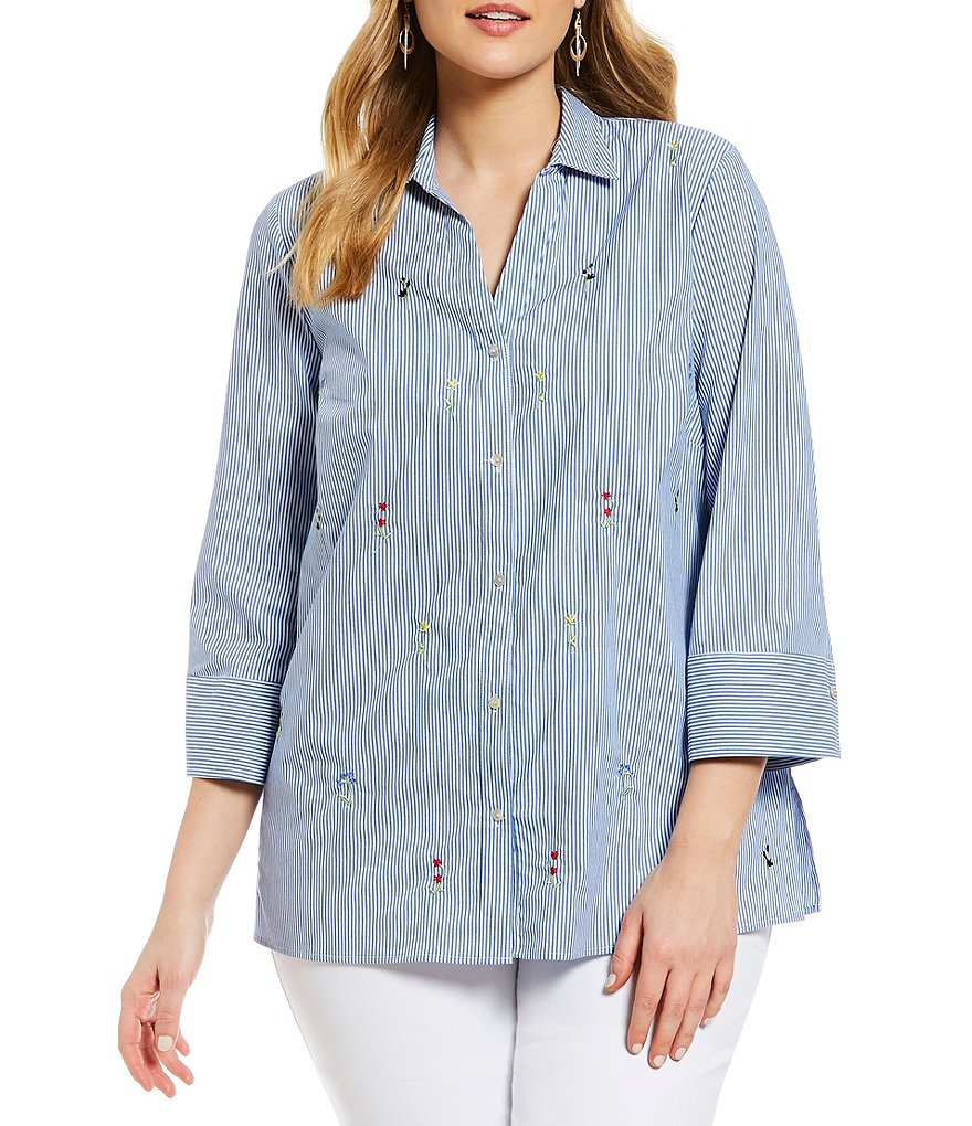 Westbound Plus Floral Embroidered Stripe Button Back Tunic