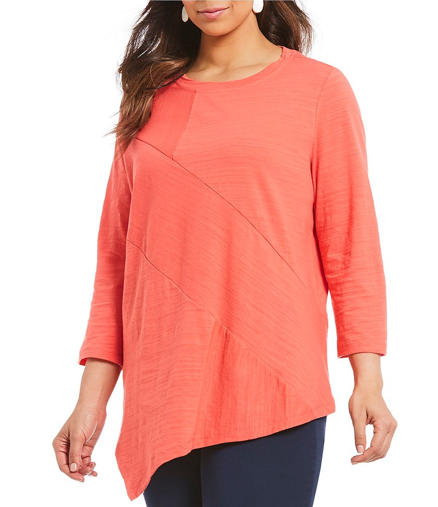 plus-size-3_4-sleeve-asymmetric-tunic by westbound