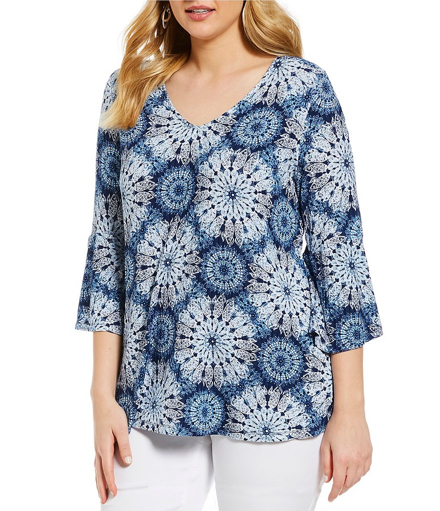 Westbound Plus Size Bell Sleeve V-Neck Top