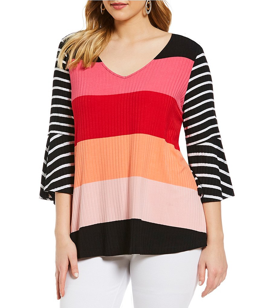 Westbound Plus Size Block Stripe Bell Sleeve V-Neck Top
