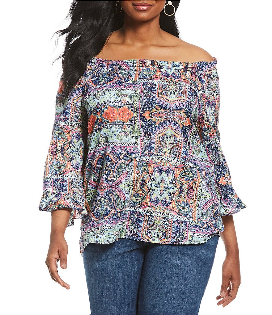 Westbound Plus Size Paisley Print Tulip Sleeve Peasant Top