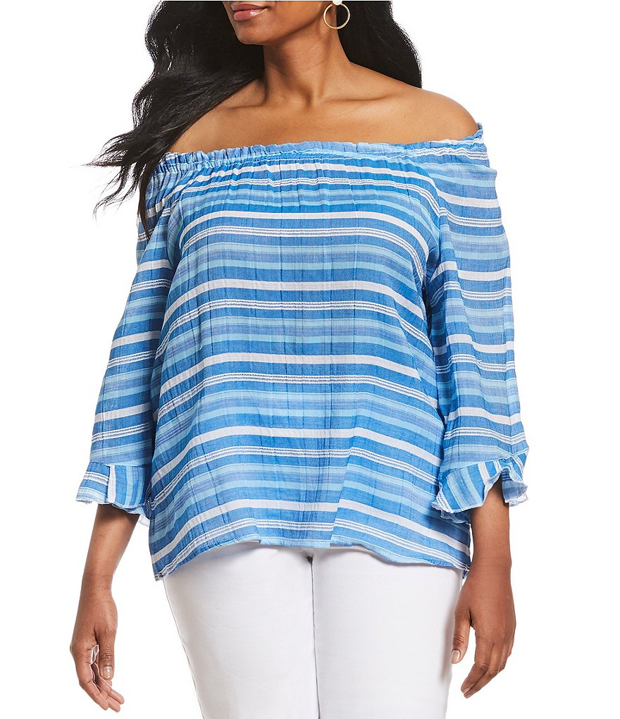 Westbound Plus Size Striped Tulip Sleeve Peasant Top